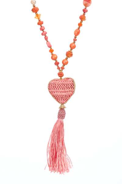 Wicker heart tassel chain - Coral Pink