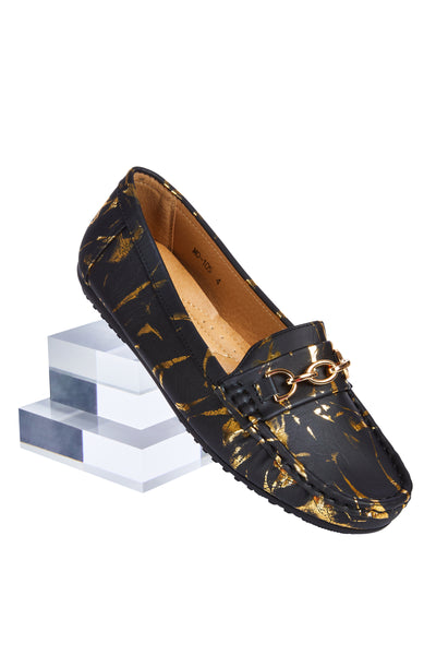 Comfort loafers - Black with Gold
