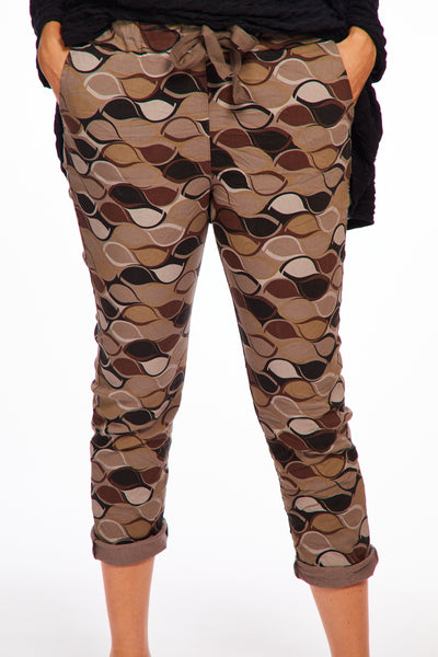 Magical stretch trousers -Autumn print chocolate