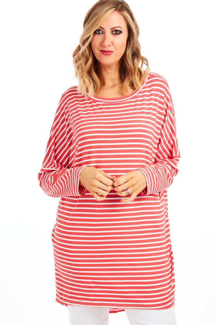 Slouchy stripe tunic - Coral