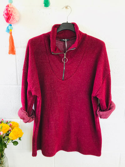 Fleece zippy - Maroon