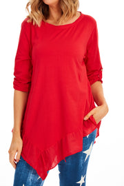 Fiona Frill T-Shirt - Red