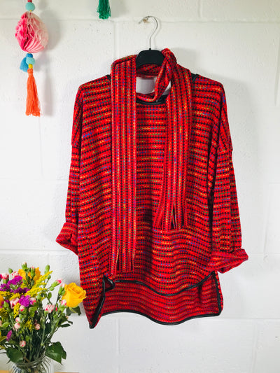 Rainy days rainbow jumper - Petite fit - Red