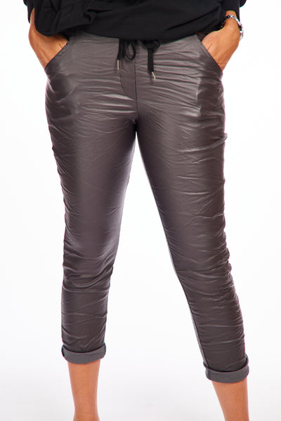 Leather look crinkle trousers - Slate Grey