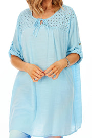 Edith loose fit beach dress - Baby Blue