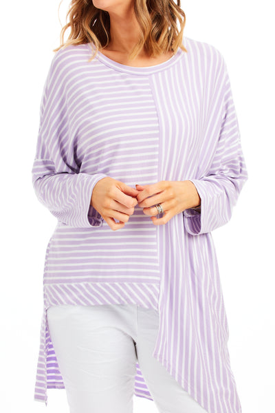 Claudia stripy loose fit top - Lilac
