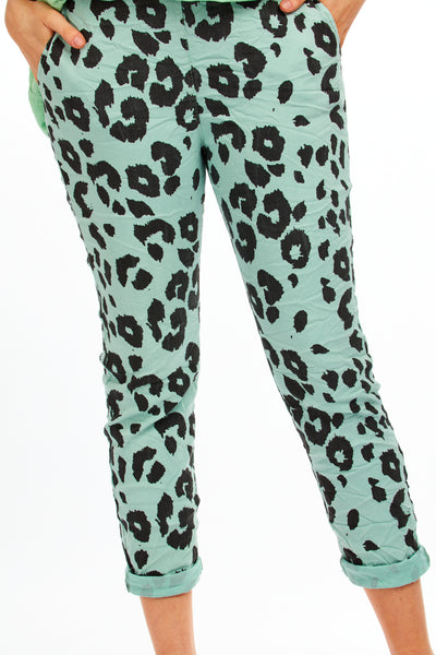 Magical stretch animal print trousers - Sage Green