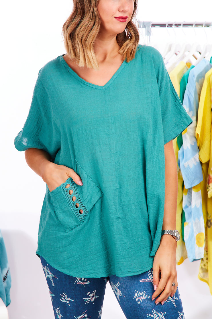 Lulu loose fit cotton top - Aqua