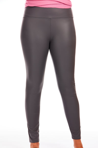 Leather look leggings - Grey