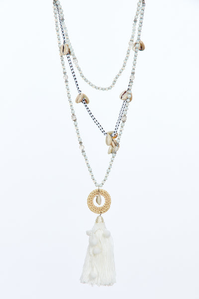 Layered tassel chain - White