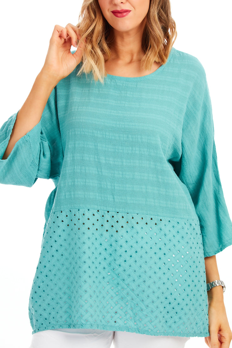 Whistledown cotton top - Aqua