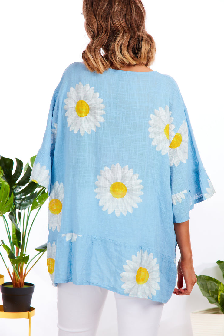 Daisy summer shirt - Baby Blue
