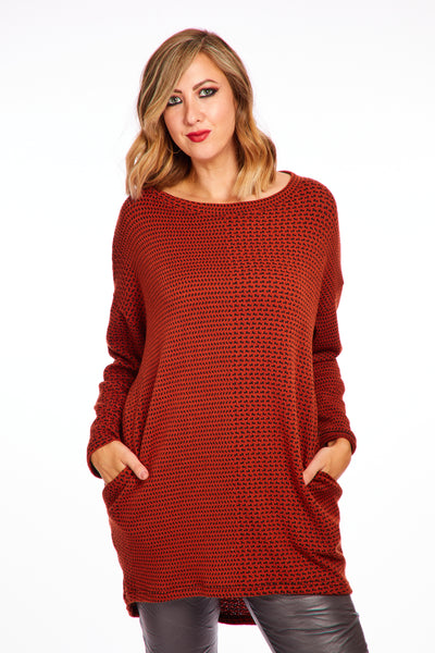 Joyous tweed look jumper - Burnt Orange