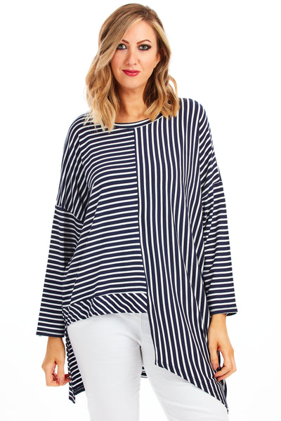 Claudia stripy loose fit top - Navy