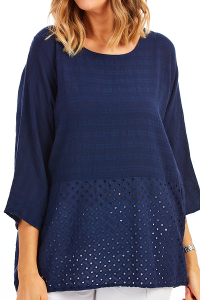 Whistledown cotton top - Navy