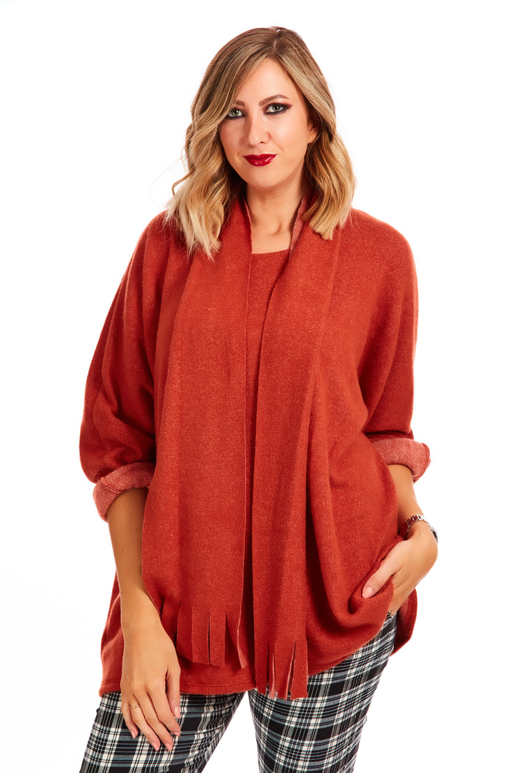 Cosy fleece scarf 2 piece jumper - Autumn Orange