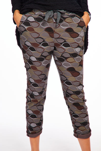 Magical stretch trousers -Autumn print grey
