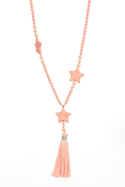 Crackle star tassel chain - Baby Pink