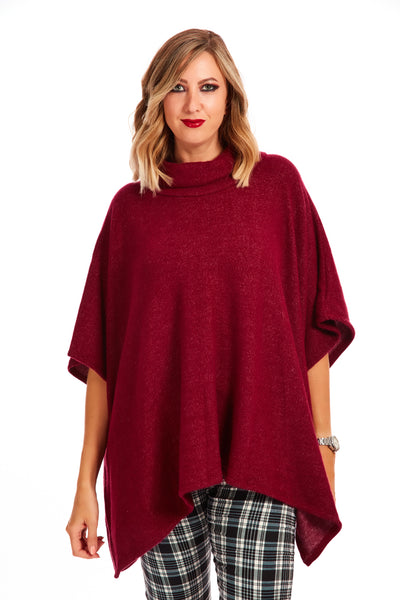 Cosy fleece poncho jumper - Maroon
