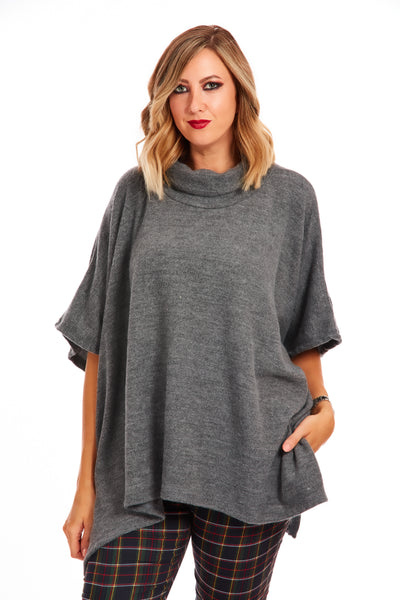 Cosy fleece poncho jumper - Grey