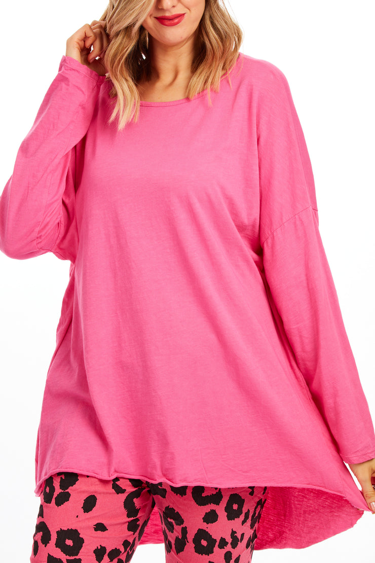 Patsy plain tunic top - Hot Pink