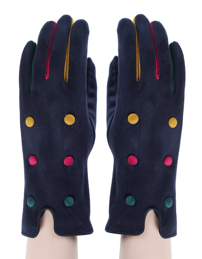Colour button gloves - Navy