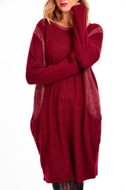 Cosy fleece jumper dress - Maroon