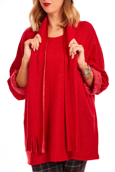 Cosy fleece scarf 2 piece jumper - Red