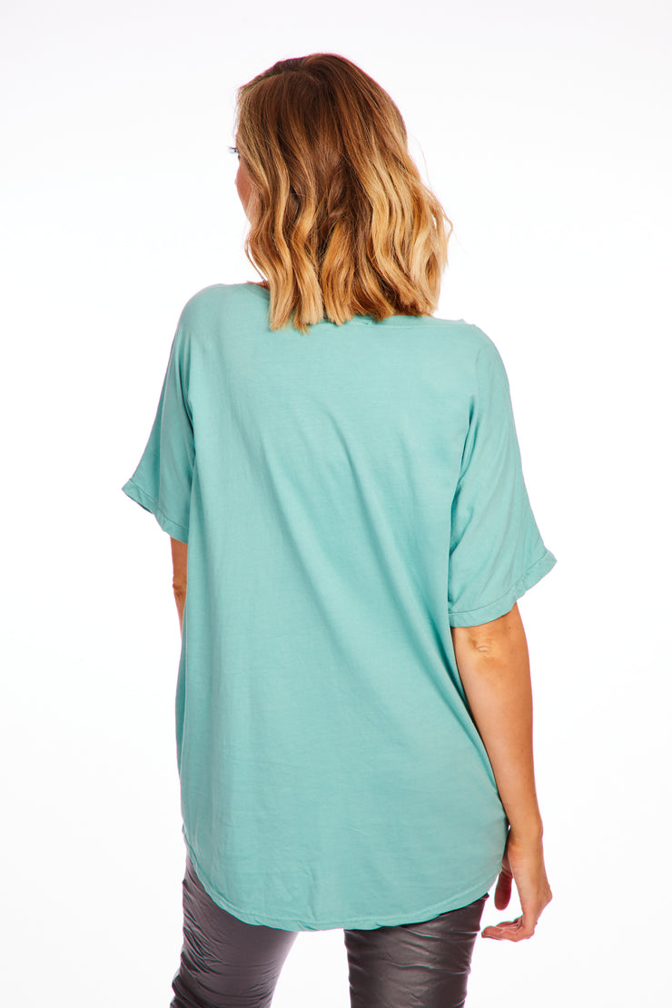 Webbed star top - Teal