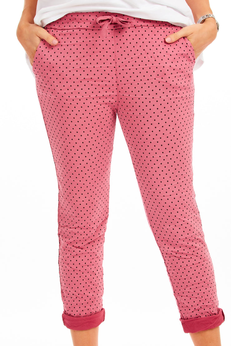 Polka dotty magical stretch trousers - Pink