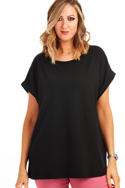 Tommy Tee jersey loose fit top - Black