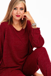 Lurex lounge set - Maroon