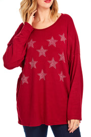 Sparkle star knit - Maroon