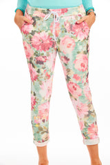 Floral Magical Stretch Trousers - elasticated trousers for Spoonie Clothing at Euphoria Boutique