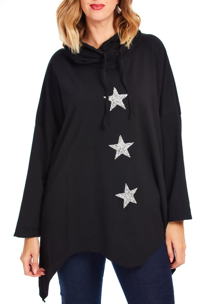 STAR Karina cowl neck sweater  - Black