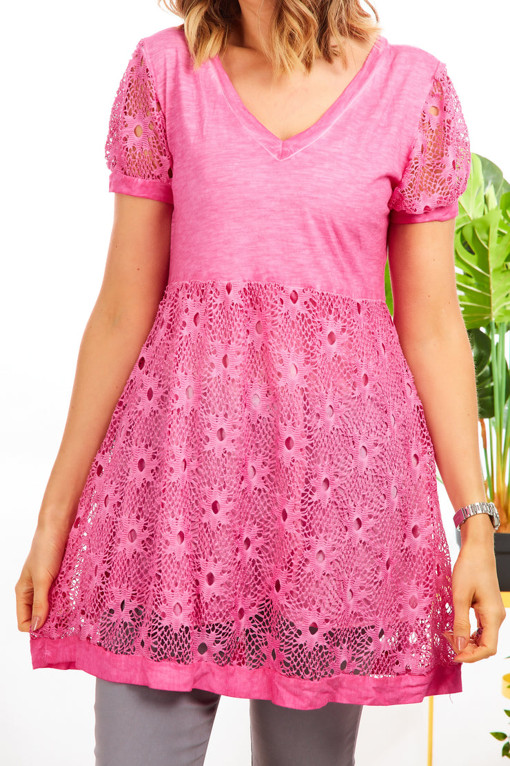 Spanish tunic dress - Hot Pink