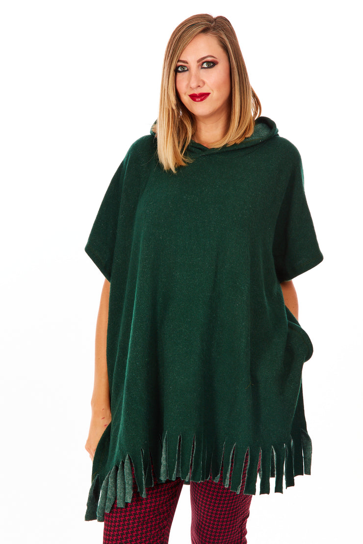 Cosy fleece TASSEL PONCHO TUNIC - Bottle Green