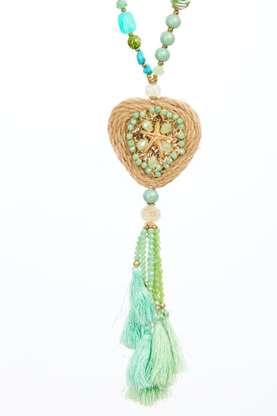 Beach hut tassel chain  - Aqua