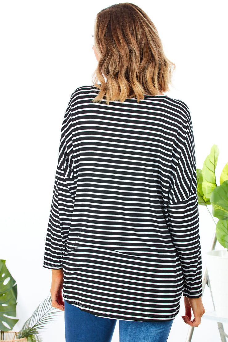 Basic stripes zippy top - Black