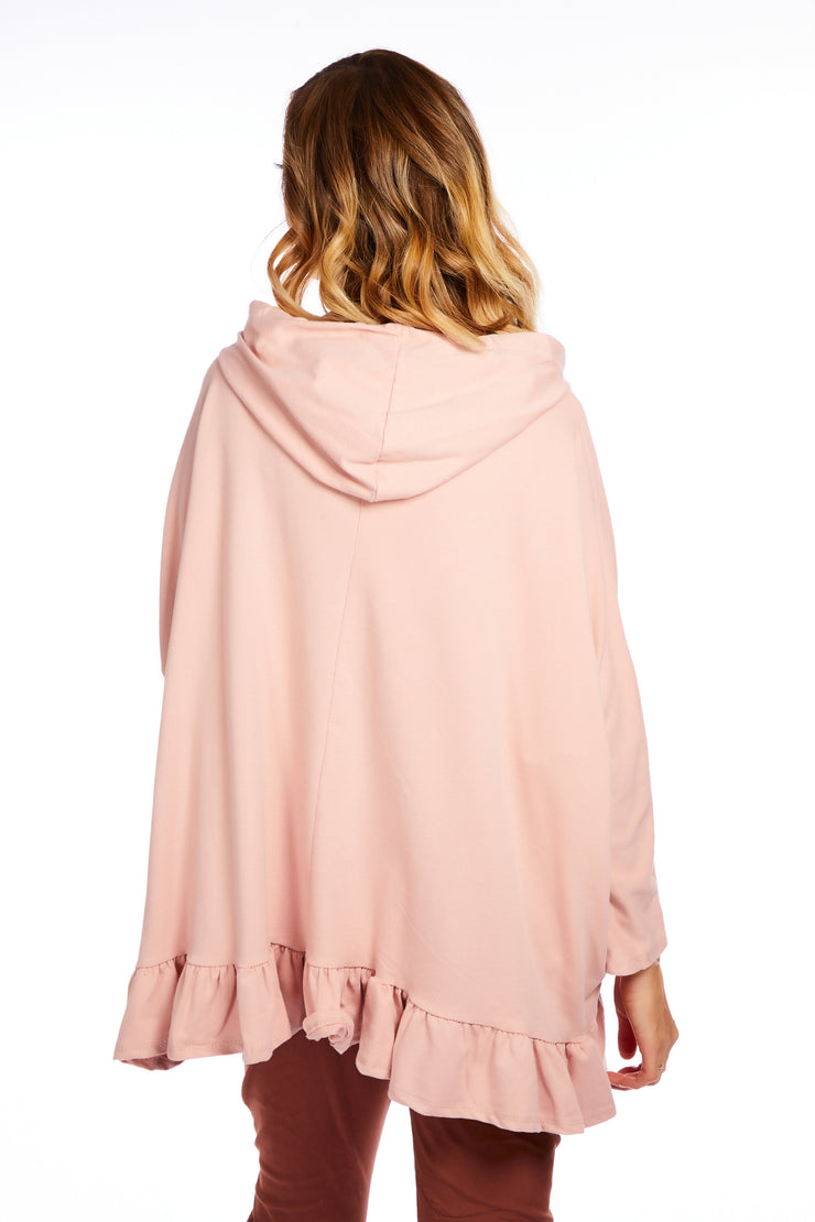 Frill hem oversized hoodie - Baby Pink