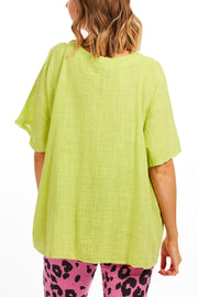 Linda cotton top - Lime Green