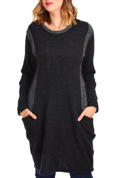 Cosy fleece jumper dress - Black