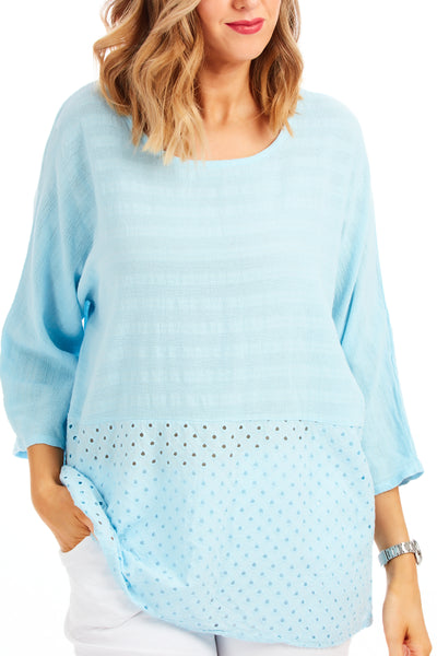 Whistledown cotton top - Baby Blue