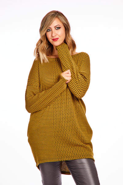 Joyous tweed look jumper - Mustard