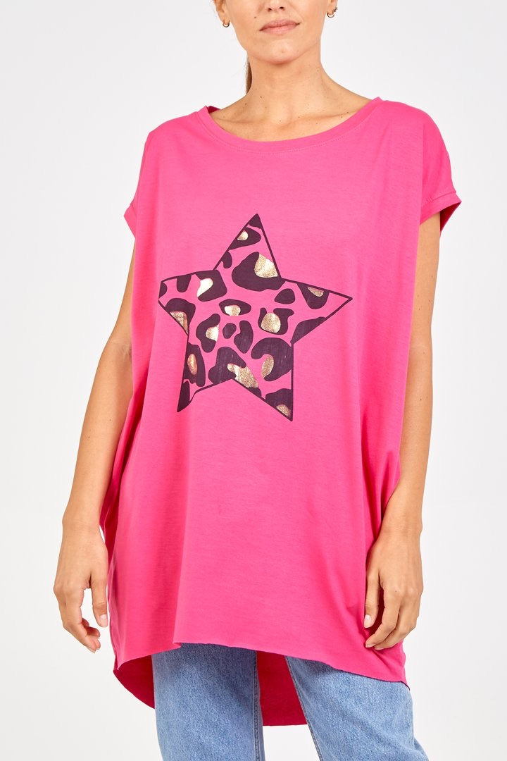 Leopard star Tunic Tee - Hot Pink