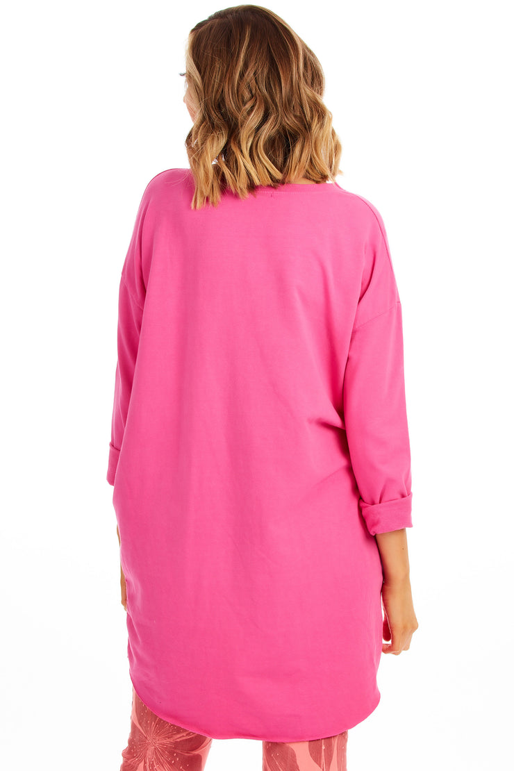 Hundred percent love tunic sweater - Pink