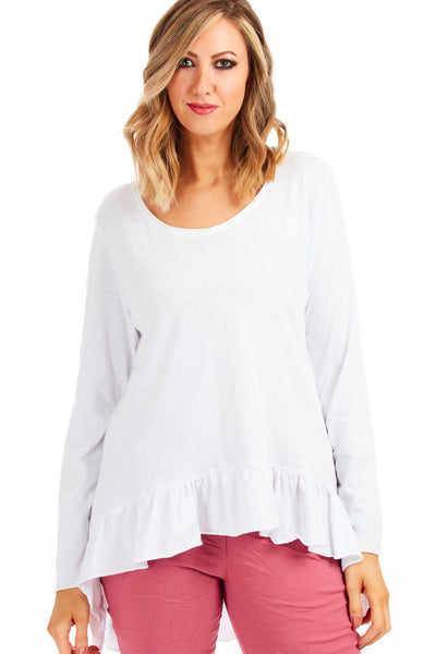 Daphne frill top - White
