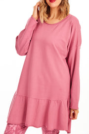 Honey peplum frill tunic - Rose Pink
