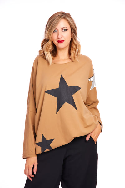 Starry lifestyle oversized sweater - Caramel