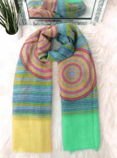 Spiral scarf - Yellow and Green